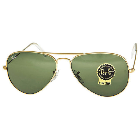 Ray Ban - Aviator Large Metal Frame Arista/Green Sunglasses RB3025 L0205 (32% off)