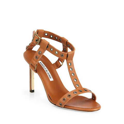 Manolo Blahnik - Kaypoti Leather T-Strap Sandals