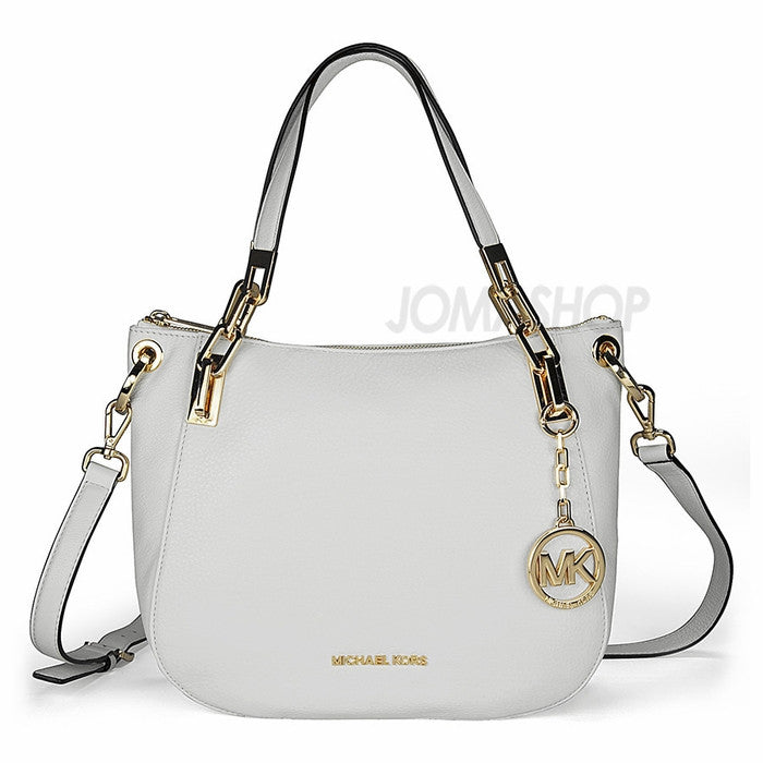Michael Kors - Brooke Medium White Leather Shoulder Tote (35% off) - Shark Tank Taiwan