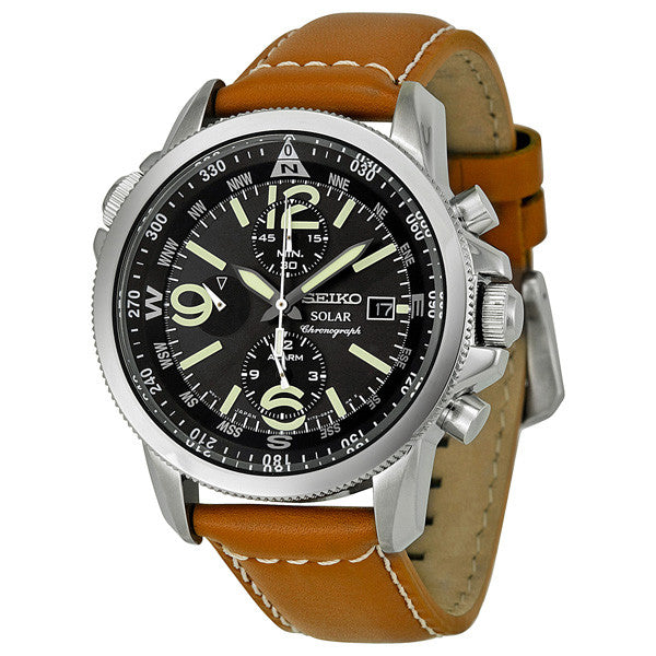 Seiko - Solar Chronograph Compass Black Dial Mens Watch SSC081 (47% off) - Shark Tank Taiwan