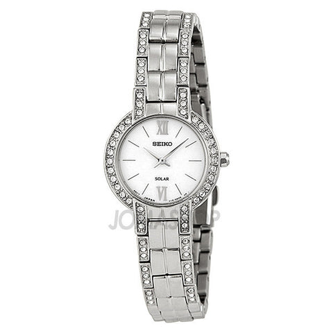 Seiko - Solar White Dial Stainless Steel With Swarovski Crystals Ladies Watch SUP199 (61% off)