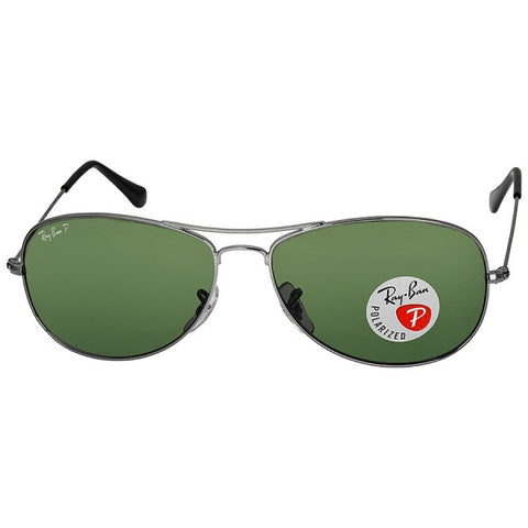 RAY BAN -  Cockpit Gunmetal Crystal Green 59mm Sunglasses