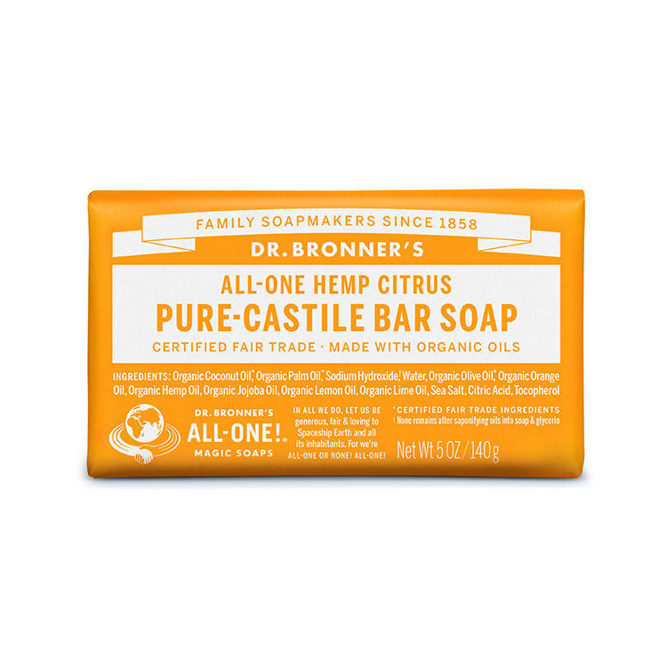 DR.BRONNERS 5oz Pure Castile Bar Soap - Orang<br/>柑橘潔膚皂 - Shark Tank Taiwan