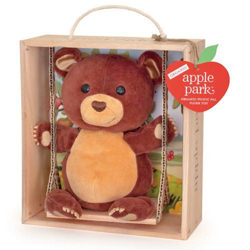 APPLE PARK Picnic Pals Plush Swinging Crate - Cubby<BR/>有機棉玩偶彌月禮盒 - 鞦韆小熊 - Shark Tank Taiwan