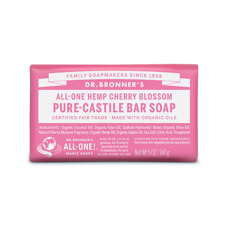DR.BRONNERS 5oz Pure Castile Bar Soap - Cherry Blosson<br/>櫻花潔膚皂 - Shark Tank Taiwan