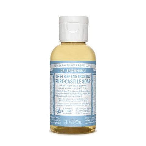 DR. BRONNERS Pure Castile Soap - Baby Unscented<br/>溫和嬰兒潔膚露 (2oz/8oz)