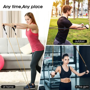 Exercise Latex Resistance Band Arm Fitness Exerciser Latex Tube Elastic Rope Puller Handle Home Fitness Training