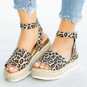 Soft Leather Wedges Sandals