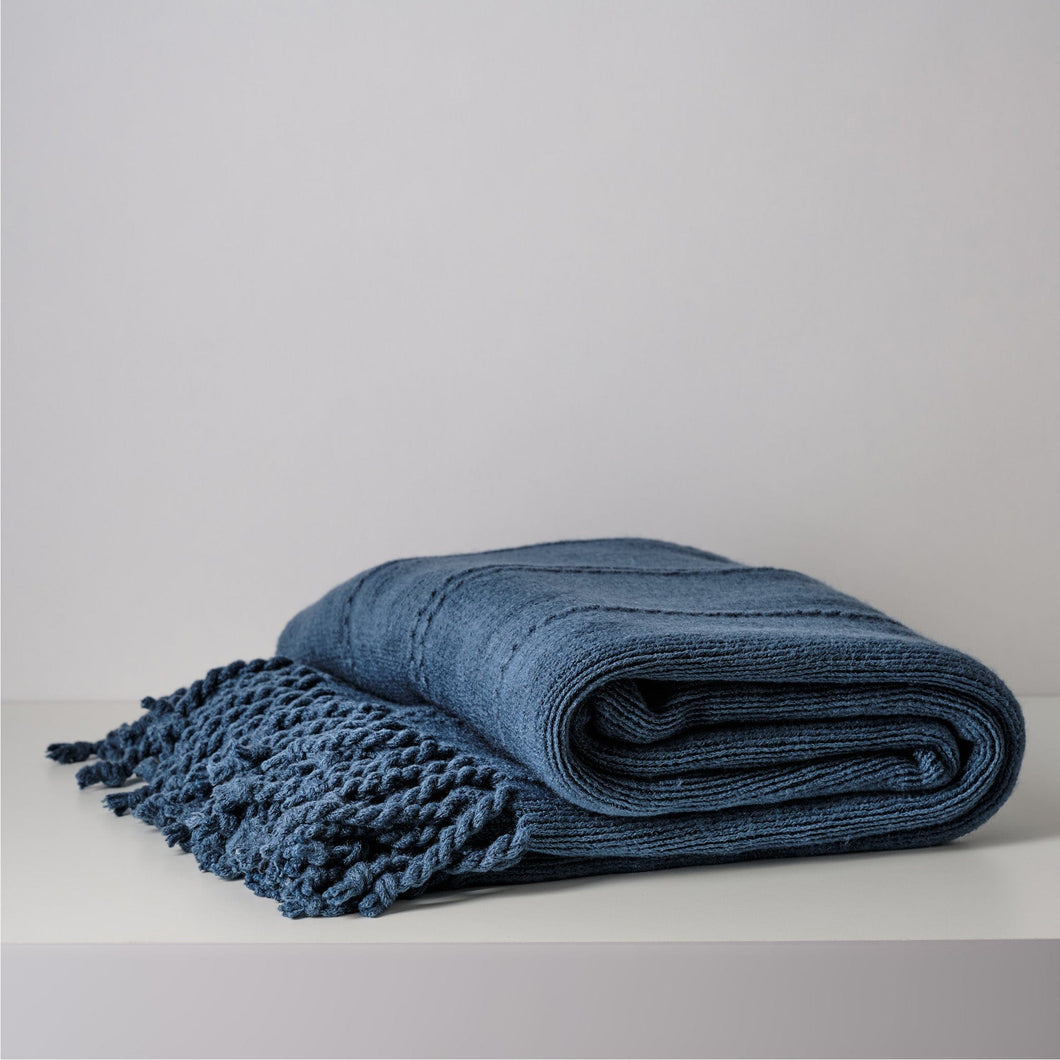 Hena Solid Knitted Throw Blanket