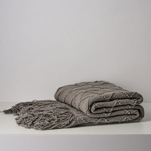 Inka Solid Knitted Throw Blanket