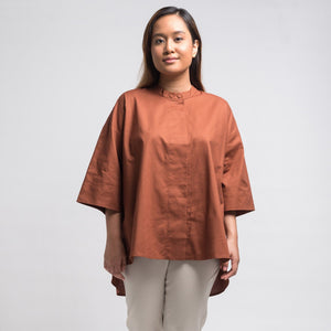 Ayda Curved Hem Collared Shirt