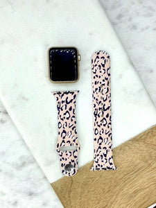 Blush Leopard Printed Silicone Watch Band - M/L