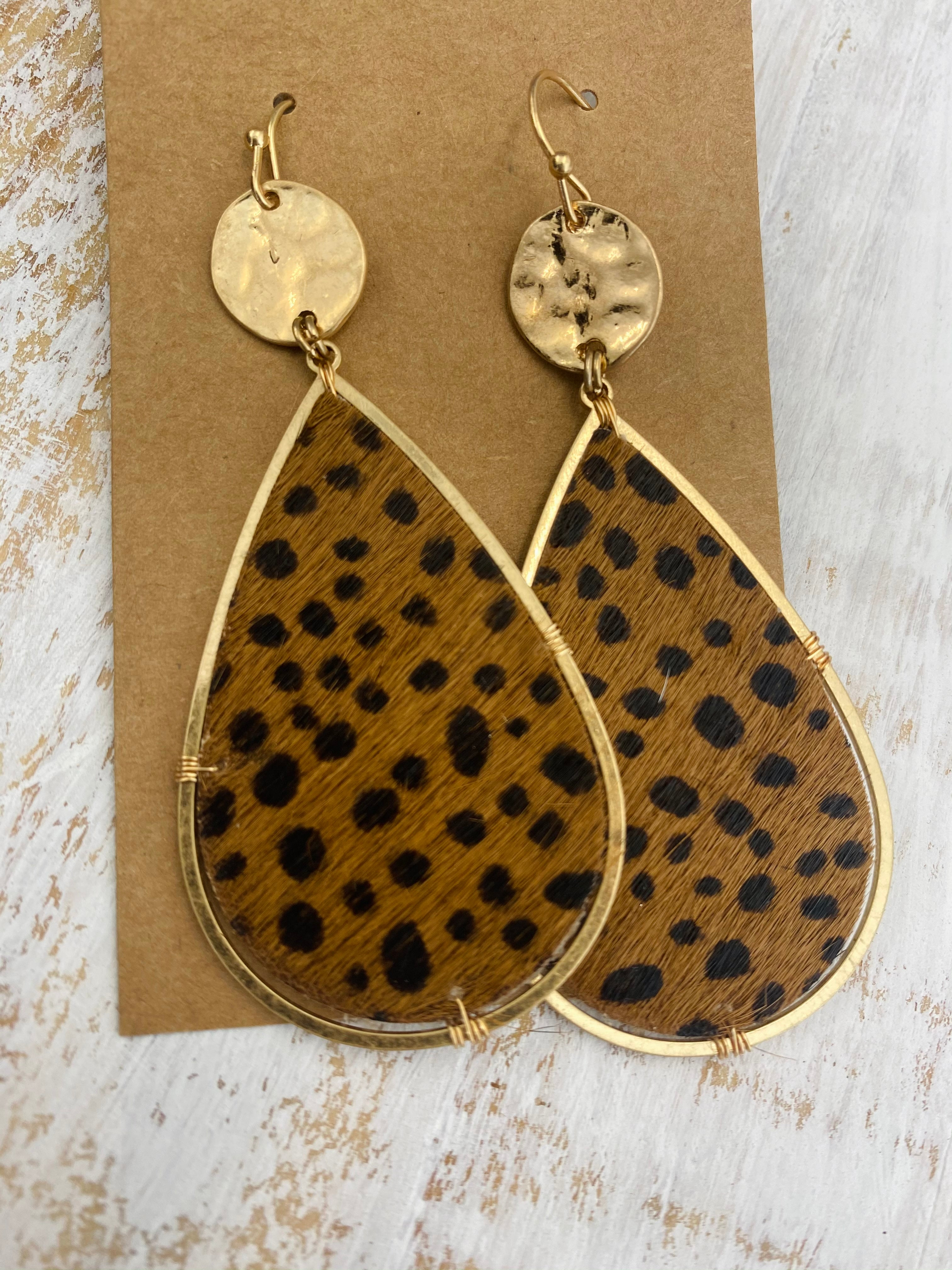 Leopard & Gold Earrings