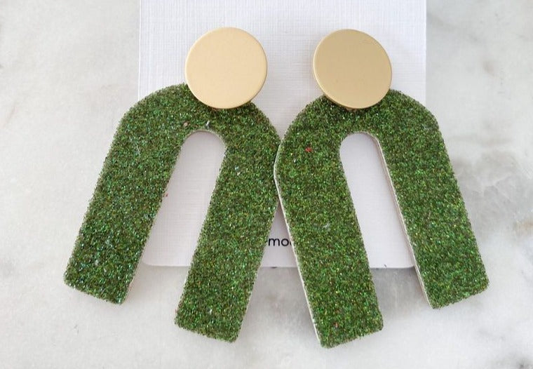 """Olive Green Glitter with Gold Stud Arch Earrings"""