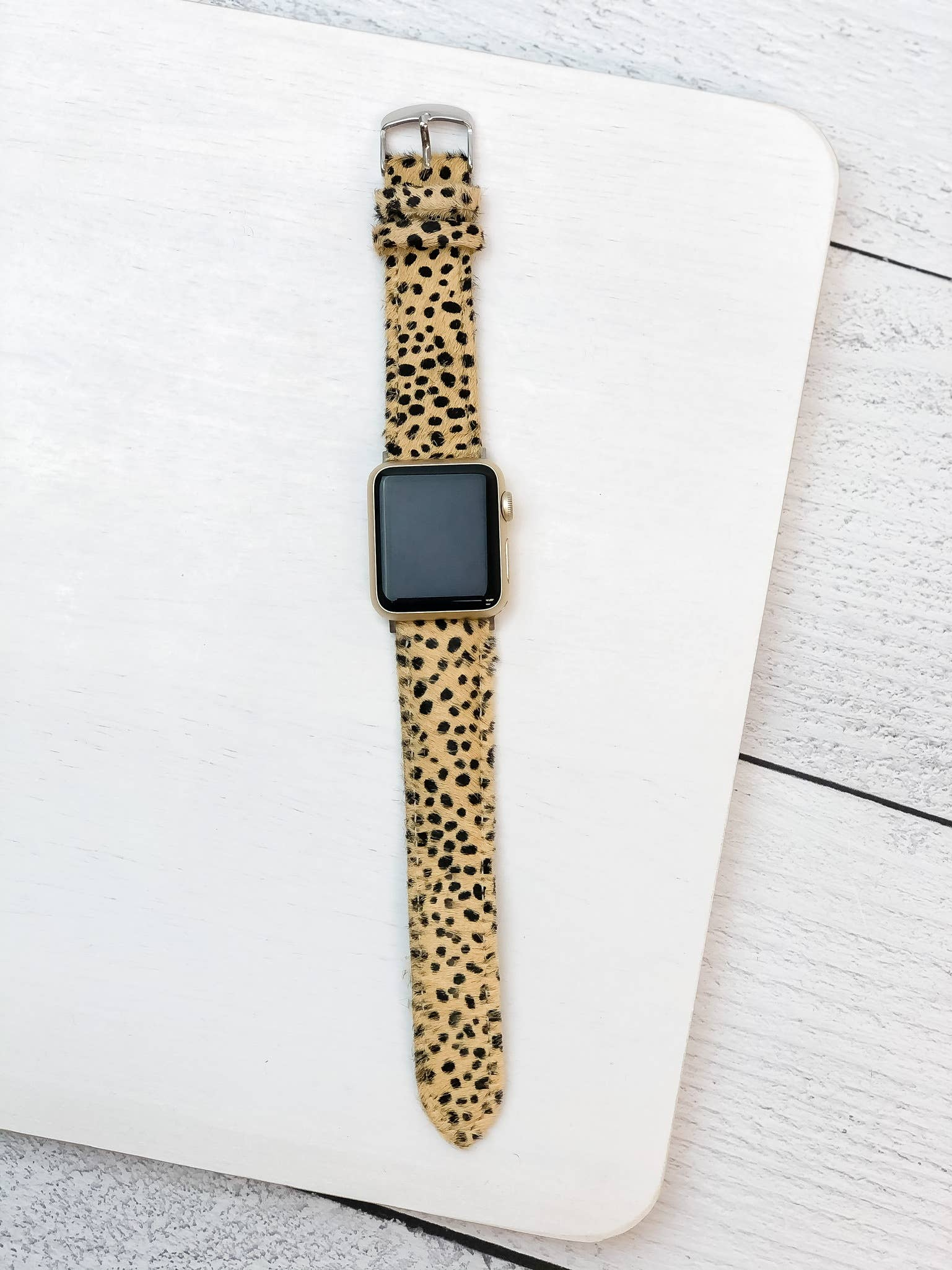 Cheetah Textured Leather Smart Watch Band