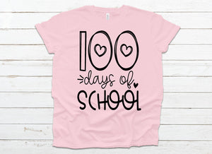 100 days of school with hearts *Choose from drop down menu*