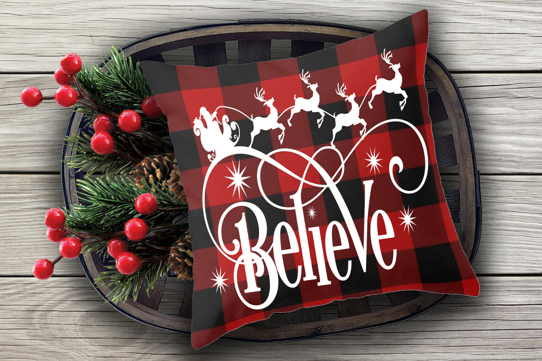 Believe with reindeer *Pillow size*