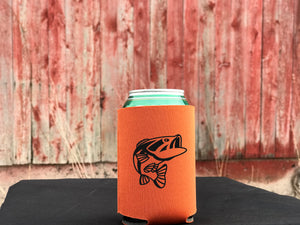 Fishing black fish koozie or pocket size