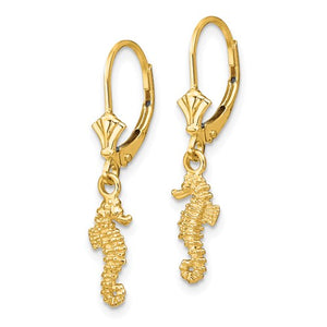 "GOLD ""DANGLE SEAHORSE"" EARRINGS"