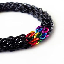 "Load image into Gallery viewer, ""CHAINMAILLE"" BLACK BRACELET"