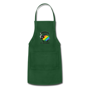 """RAINBOW SHEEP"" APRON - forest green"