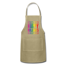 "Load image into Gallery viewer, ""HAPPY HOLIGAYS"" APRON - khaki"