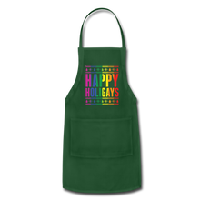 "Load image into Gallery viewer, ""HAPPY HOLIGAYS"" APRON - forest green"