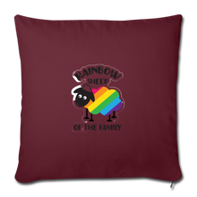 "Load image into Gallery viewer, ""RAINBOW SHEEP?!"" PILLOW COVER - burgundy"