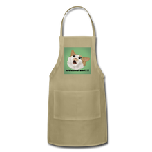 "Load image into Gallery viewer, ""LESBIANS EAT WHAT?!"" APRON - khaki"