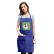 "Load image into Gallery viewer, ""LESBIANS EAT WHAT?!"" APRON - royal blue"