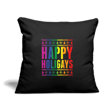 "Load image into Gallery viewer, ""HAPPY HOLIGAYS"" PILLOW COVER - black"
