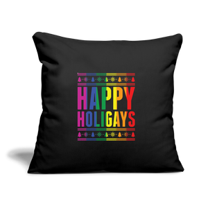 """HAPPY HOLIGAYS"" PILLOW COVER - black"