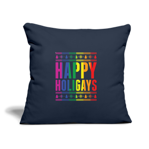 """HAPPY HOLIGAYS"" PILLOW COVER - navy"
