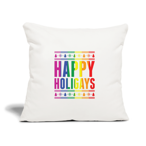 """HAPPY HOLIGAYS"" PILLOW COVER - natural white"