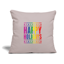 "Load image into Gallery viewer, ""HAPPY HOLIGAYS"" PILLOW COVER - light taupe"