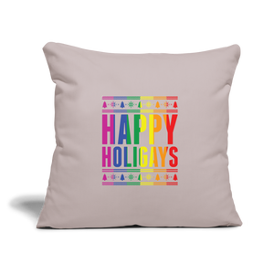 """HAPPY HOLIGAYS"" PILLOW COVER - light taupe"