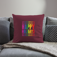 "Load image into Gallery viewer, ""HAPPY HOLIGAYS"" PILLOW COVER - burgundy"
