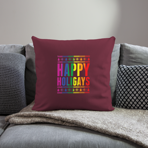"""HAPPY HOLIGAYS"" PILLOW COVER - burgundy"