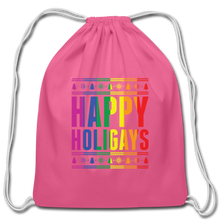 "Load image into Gallery viewer, ""HAPPY HOLIGAYS"" DRAWSTRING BAG - pink"
