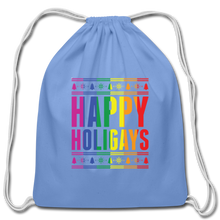 "Load image into Gallery viewer, ""HAPPY HOLIGAYS"" DRAWSTRING BAG - carolina blue"