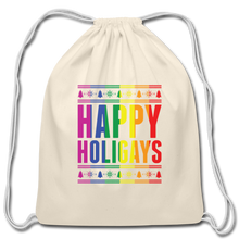 "Load image into Gallery viewer, ""HAPPY HOLIGAYS"" DRAWSTRING BAG - natural"