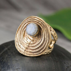 BR025 Moonstone Brass Labyrinth Ring