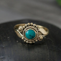 BR040M Brass Turquoise Flower Ring