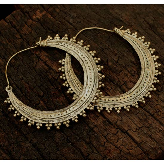 BE010L LRG Brass Tribal Hoop Earrings