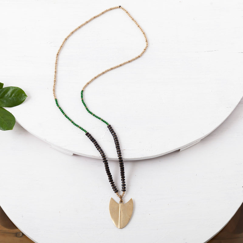 BBN038 Block Beaded Tribal Arrow Necklace