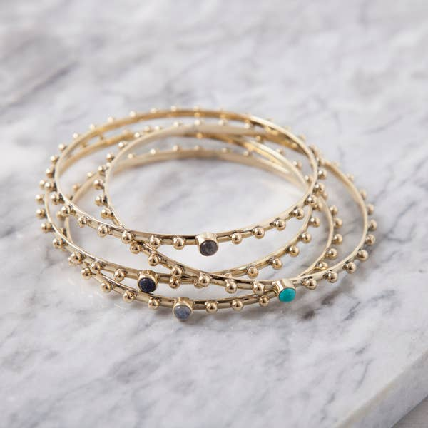 BB020 Brass Studded Bangle Bracelet w/ Stone