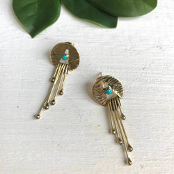 BE155 Etched Brass Earrings with Turquoise, Brass fringe