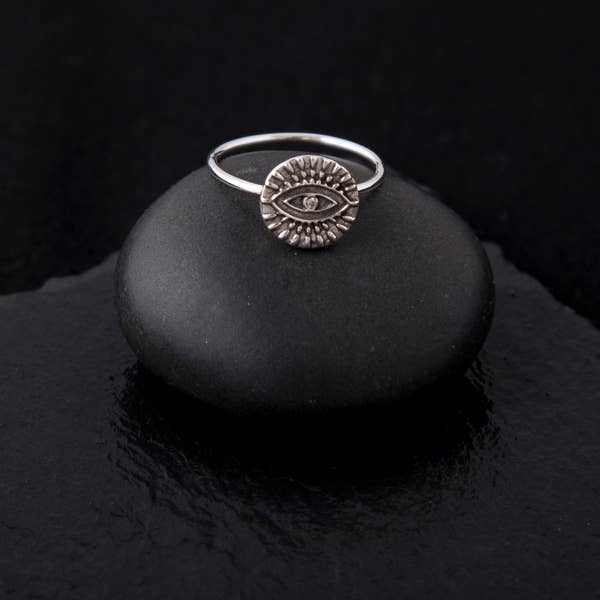 SGPR023 - Sterling Silver Evil Eye Ring