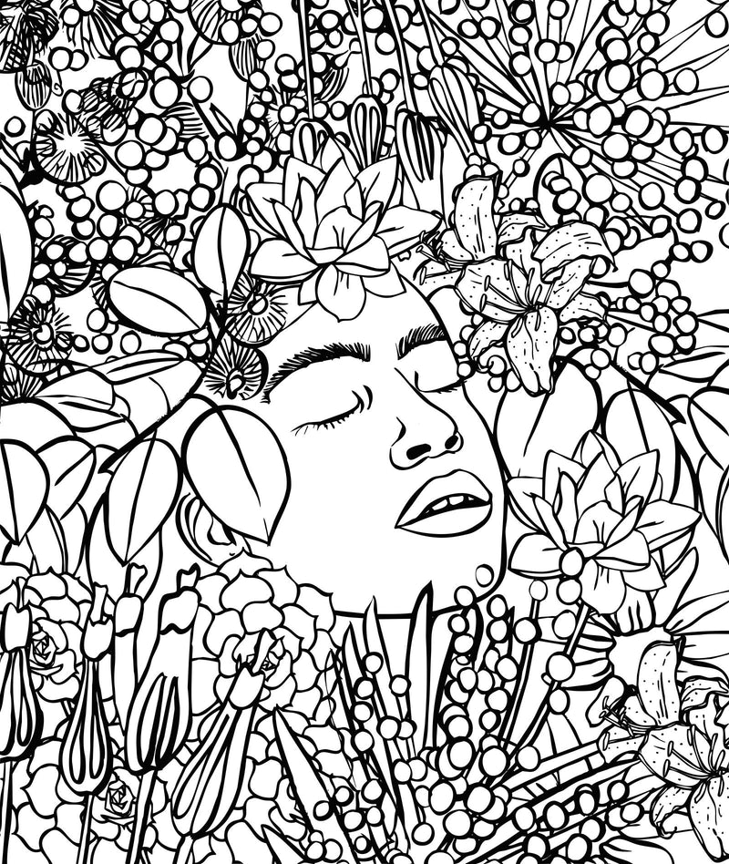 Women + Patterns + Plants: A Self-Care Colouring Book (Paperback)