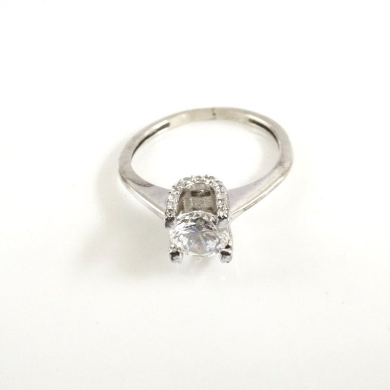 "Sterling Silver Small CZ ""U"" Setting w/Large CZ Engagement Ring"